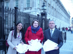 handing in NHS petition